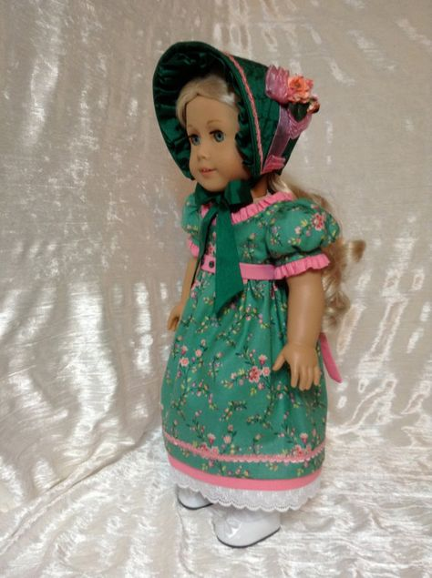 Regency Gown in green and melon with Silk Bonnet by DollSizeDesigns via Etsy  $139.00
