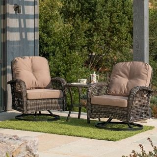 Corvus Livorno Outdoor 3 Piece Wicker Chat Set With Swivel Chairs In 2020 Patio Furniture Deals Outdoor Wicker Rocking Chairs Best Outdoor Furniture