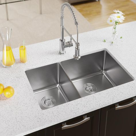 Mr Direct Undermount Stainless Steel 32 In Right Double Bowl