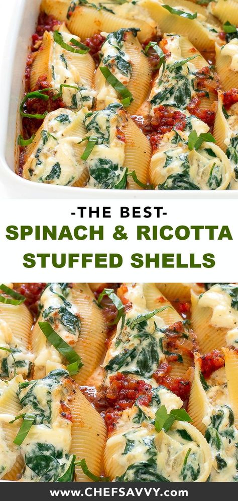 Spinach and Ricotta Stuffed Shells - Chef Savvy - These tender jumbo pasta shel. - Spinach and Ricotta Stuffed Shells – Chef Savvy – These tender jumbo pasta shells are stuffed with ricotta, parmesan cheese, mozzarella cheese, spina – Jumbo Pasta Shells, Stuffed Pasta Shells, Healthy Stuffed Shells, Stuffed Shells With Spinach, Ricotta Cheese Stuffed Shells, Stuffed Pasta Recipes, Barilla Stuffed Shells Recipe, Baked Pasta With Ricotta, Recipe For Stuffed Shells