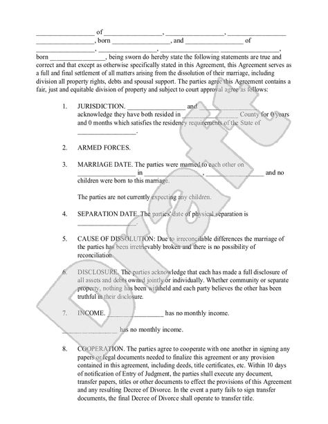 Property Divorce Settlement Agreement Template  Are You Looking