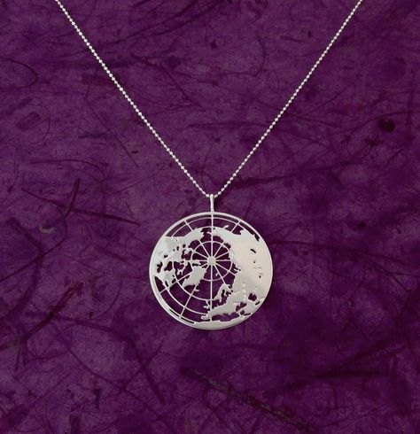You have the weight of the world on your shoulders? You may show that you are on top of it with this delicate top of the world necklace. measurements: Silver plated pendant :1.25 (32mm) diameter includes a 16 (40.6cm) Sterling silver chain with a 3 (7.6cm) extension. Also available in