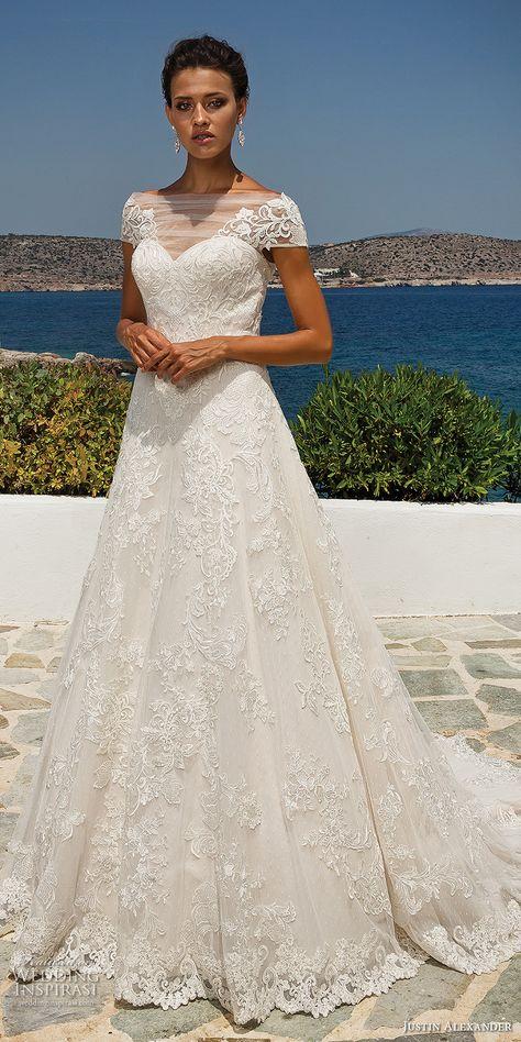 9730c59a058 justin alexander 2018 bridal cap sleeves illusion bateau sweetheart  neckline full embellishment romantic a line wedding