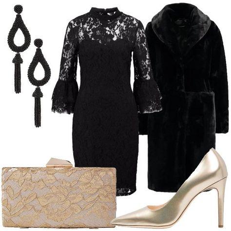 59b69b1737c1 Il vestito nero completamente di pizzo foderato ha il collo a giro e la  manica 3 4 con balze finali. L abbiniamo al cappotto nero in eco pelliccia  modello ...