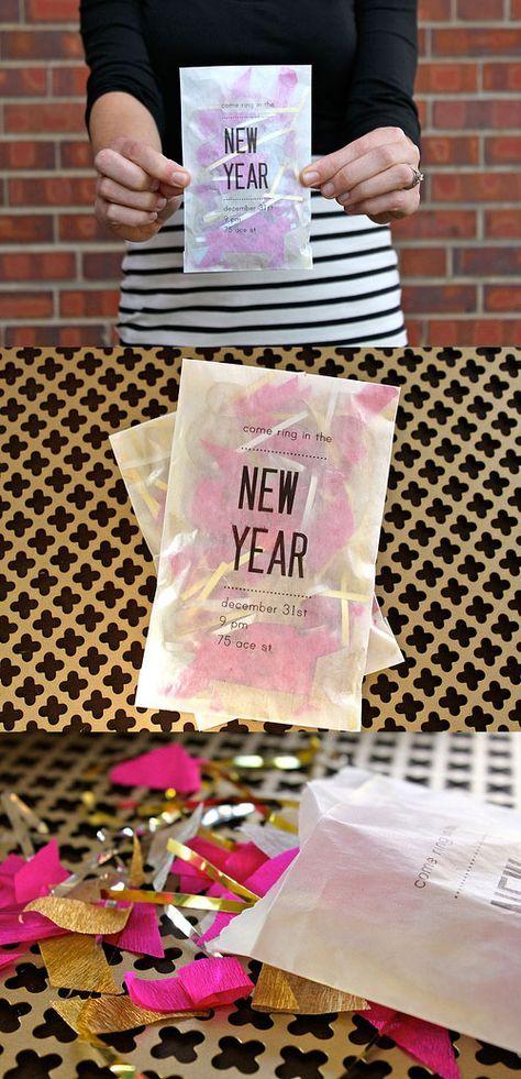 clever confetti invitation idea for new years party