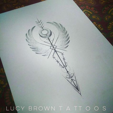 Valkyrie Arrow One of two design commissions.... This theme seems popular at the moment Design copyright of #lucybrowntattoos. . . . . #handpoke #valkyrie #arrow #populargeometrictattoos