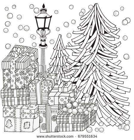 Winter Adult Coloring Book Page Lantern Shines At Night Firs