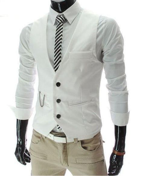 Veste Slim Fit Costume Hommes - blanc / L