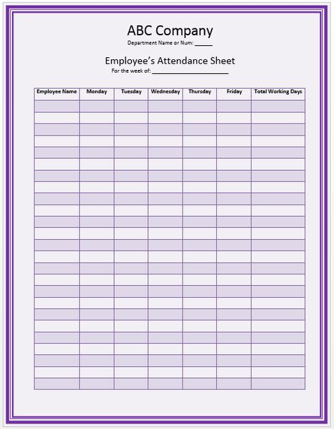 Office Staff Attendance Sheet Template school ideas Pinterest - daily attendance sheet template