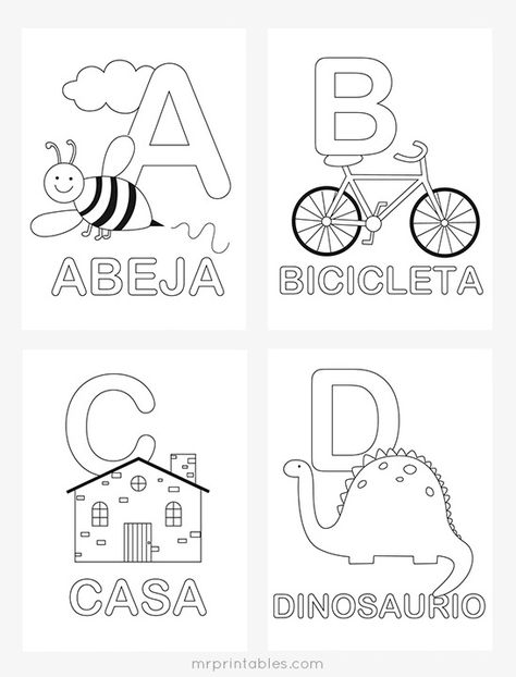 Printable Alphabet Coloring Pages Collection. Well, what do you think about alphabet coloring pages? Before recognizing it more, let's check what alphabet is! Spanish Flashcards, Spanish Worksheets, Alphabet Worksheets, Alphabet Activities, Kindergarten Worksheets, Spanish Activities, Preschool Spanish Lessons, Kindergarten Coloring Pages, Spanish Games