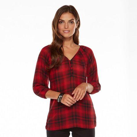 e5f62c67259 Chaps plaid georgette blouse - women s on shopstyle.com
