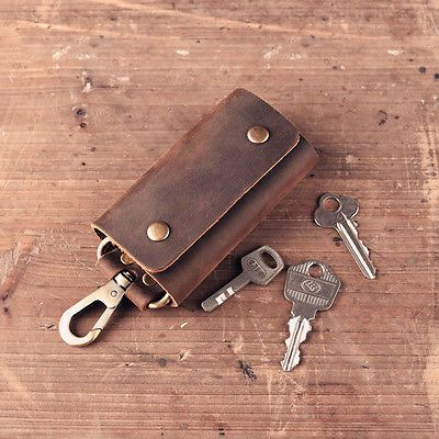 Men Genuine Leather Vintage Brown Car Key Chains Rings Cases Holder Package