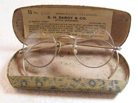 d2c52315ccd6 Vintage Antique Spectacles Round Glasses Original Case Prescription Steel  Wire Frame