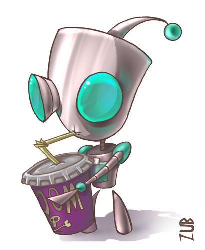 Invader ZIM - Gir - the only robot that would drink from a cup labelled DOOM.