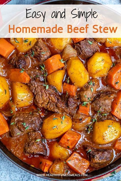 This Classic Homemade Beef Stew recipe is so easy to make and so heavenly. A one-pot meal that's hearty, flavorful and loaded with tender beef morsels, potatoes, and carrots. potato al horno asadas fritas recetas diet diet plan diet recipes recipes Stew Meat Recipes, Crockpot Recipes, Healthy Stew Recipes, Stewing Beef Recipes, Cubed Beef Recipes, Beef Recepies, Crockpot Meat, Healthy Food, Pot Roast Recipes