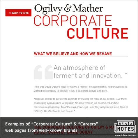 Examples of Corporate Culture \ Careers wep pages from well-known - elevator speech examples