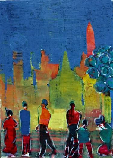 Original People Painting By De Hansi Alias Hans Jorgen Henriksen Expressionism Art On Canvas The City And The People