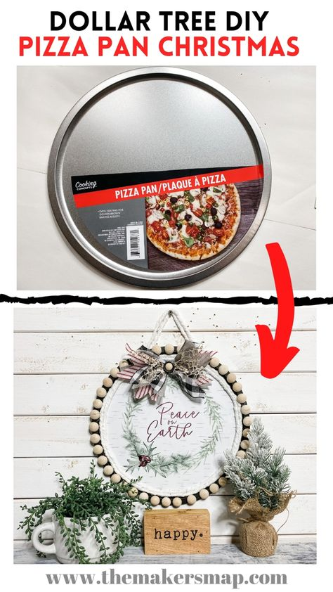Dollar Tree Pizza Pan Christmas DIY 2021 CALENDAR