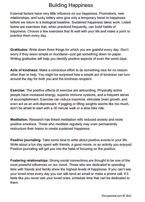 Building Happiness (Exercises) (Worksheet | peer support ...