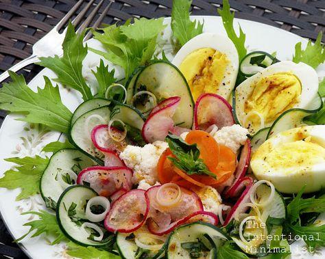 Gardens Bounty Salad with Verjus Honey Mustard Dressing by theintentionalminimalist #Salad