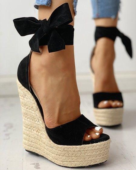 Details about  /Elegant Women Bowknot Platform Stiletto High Heel Buckle Peep Toe Sandals Shoes
