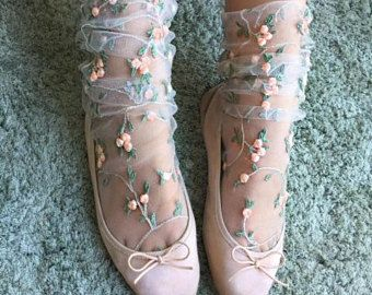 """These dainty socks are the perfect lady-like touch to your """"Sweet Lolita"""" kawaii wardrobe. Floral Socks, Lace Socks, Ankle Socks, Sheer Socks, Mesh Socks, Floral Lace, Fashion Socks, Fashion Outfits, Estilo Lolita"""