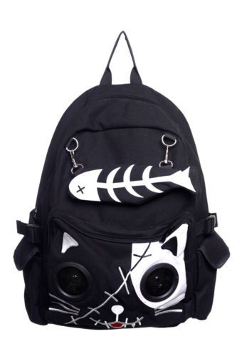 Speaker Bag by Banned KITTY Cat Animal Rucksack Backpack Emo Gothic Plug  Play | eBay
