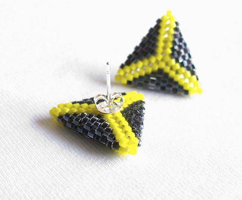 Beaded Triangle Earrings, Triangle Stud Earrings, Yellow and Grey Earstuds, Geometric Post Earings, Small Beadwoven Earings - Etsy UK Seller