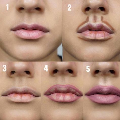 Step by step guide on how to give your lips a fuller look 👄💄👀 .