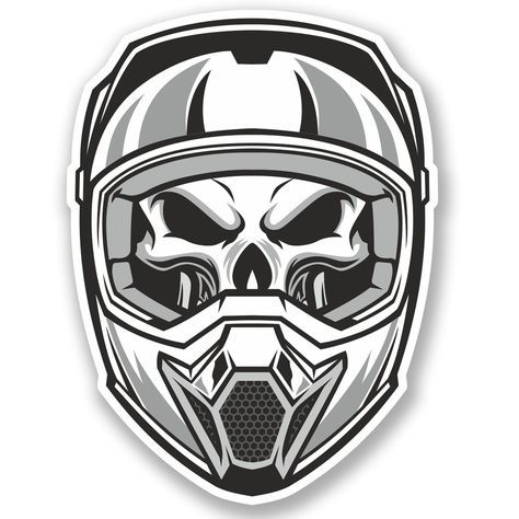 2 X Motorcross Helmet Vinyl Sticker Decal Ipad Laptop Bike Car