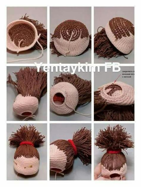 Granny Bun Hair Amigurumi Tutorial | Knitted dolls, Crochet doll ... | 626x474