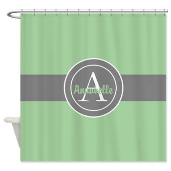 Green Gray Monogram Personalized Shower Curtain By
