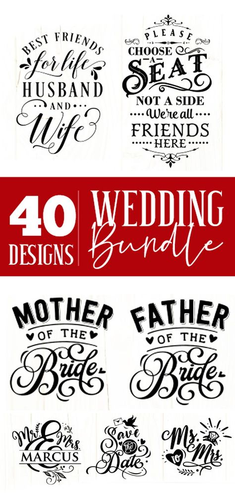 Wedding Svg Bundle 40 Designs Vol 1 Wedding Silhouette Cricut