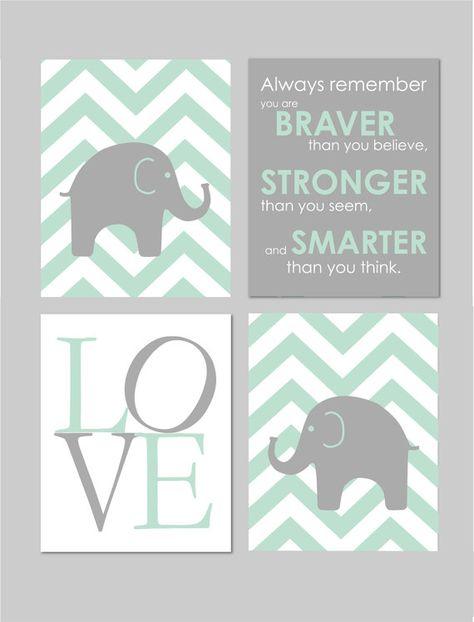 50% Off Sale Elephant Nursery Braver than you believe Mint