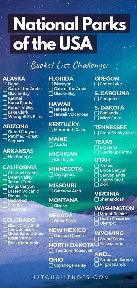 US national parks bucket list