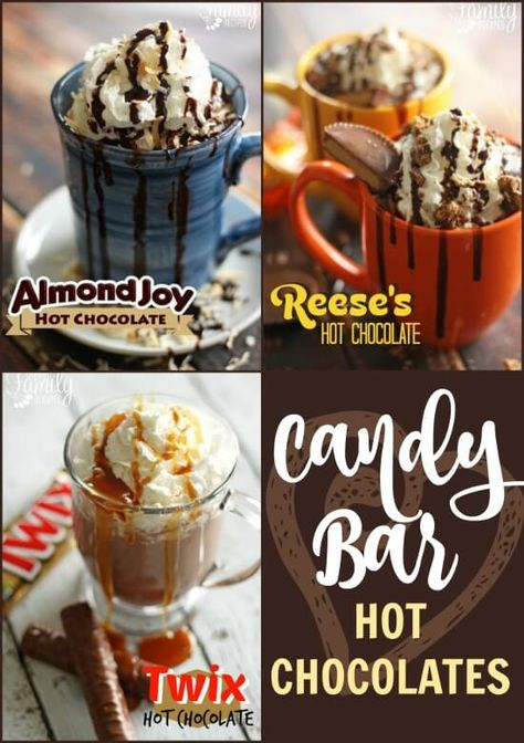 Candy Bar Hot Chocolate – Almond Joy, Reeses, and Twix These candy bar hot chocolate recipes are a must for any Christmas party. Almond Joy, Reese's, and Twix flavorings are sure to please any chocolate lover! Homemade Hot Chocolate, Hot Chocolate Bars, Hot Chocolate Recipes, Chocolate Party, Chocolate Cake, Hot Cocoa Recipe, Cocoa Recipes, Dessert Recipes, Candy Recipes