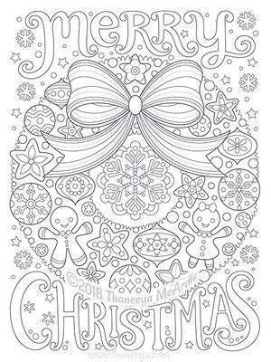 Merry Christmas Wreath Coloring Page By Thaneeya Christmas