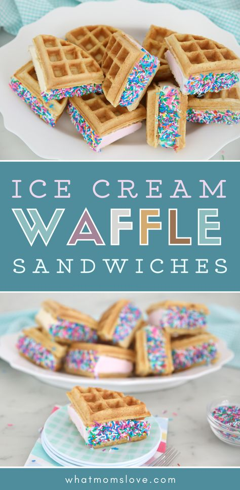 Homemade Waffle Ice Cream Sandwich Recipe | Swap the cookies for delicious Belgian waffles (or the frozen ones!) to make this unique dessert idea. #icecream #dessertrecipe Unique Desserts, Creative Desserts, Delicious Desserts, Dessert Recipes, Unique Recipes, Easy Desserts, Yummy Food, Ice Cream Cookies, Ice Cream Desserts