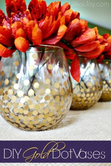 Using gold paint, paint pen, could stamp paint with a pencil eraser! For votive centerpieces?