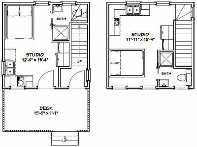 16x16 Tiny Duplex 441 Sq Ft Pdf Floor Plan Model 23 Ebay Floor Plans Studio Floor Plans Apartment Plans