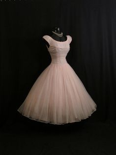 Vintage 1950's 50s Bombshell PINK Ruched Chiffon Circle Skirt Party Prom Wedding Dress