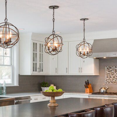 Greyleigh Mason 3 Light Unique Globe Pendant With Crystal Accents In 2021 Farmhouse Kitchen Lighting Kitchen Table Lighting Kitchen Lighting Fixtures