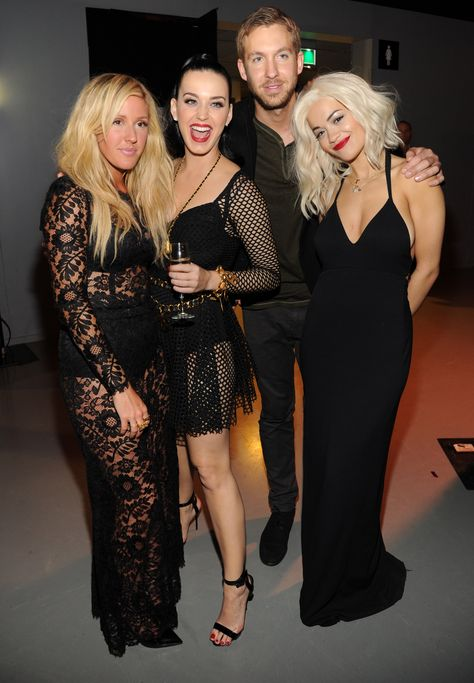 Party people in the place to be. Ellie Goulding, Katy Perry, Calvin Harris, and Rita Ora have some fun backstage at the 2013 MTV European Music Awards on Nov. 10 in Amsterdam