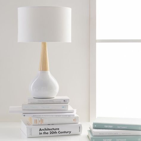 Contemporary, white & wood Kent lamp by Surya lends a clean line look (KTLP-001).