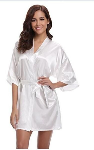 5ed7f3f8022 Women Silk Satin Short Night Robe Solid Kimono Robe Fashion Bath Robe –  lilogal