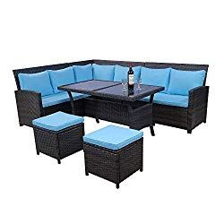 Lz Leisure Zone 6 Piece Patio Dining Sets Pe Rattan Sectional