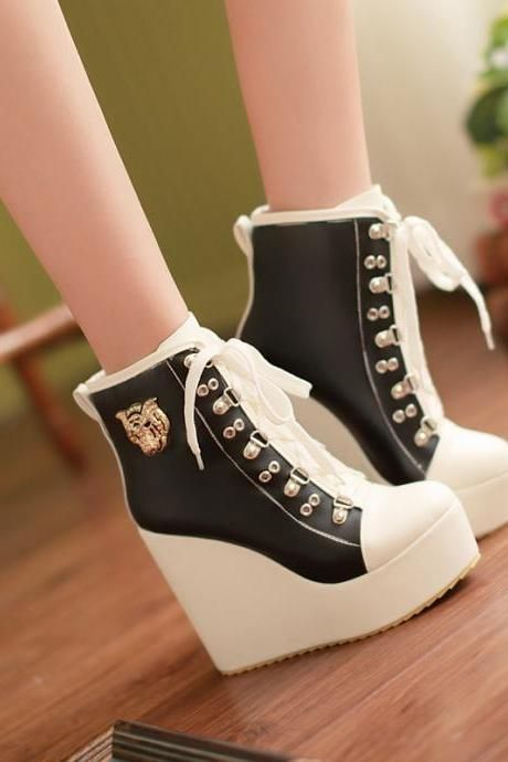 Women's Buckle Lace Up Wedge High Heels