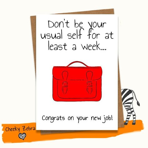New job card - funny good luck  congratulations on your new job