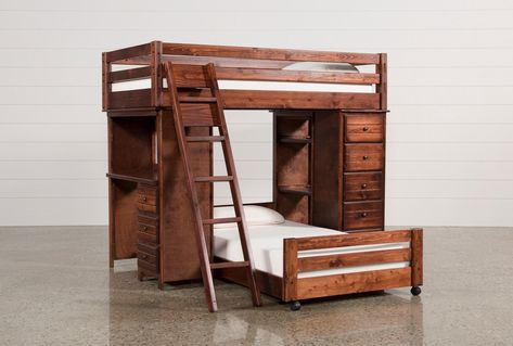 Twin Over Twin Loft Bunk With Chest Desk Sedona Brown 845
