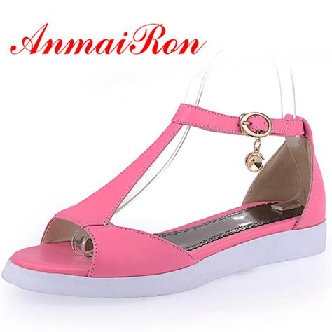 4a398c957df1a5 ANMAIRON 2018 New Women Fashion Pink Shoes T-strap Patent Leather Fashion  Ankle Strap Flats Sandals Shoes Woman Size 34-39. Yesterday s price  US   52.60 ...
